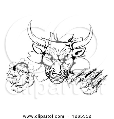 Clipart of a Black and White Aggressive Clawed Bull Breaking Through a Wall - Royalty Free Vector Illustration by AtStockIllustration