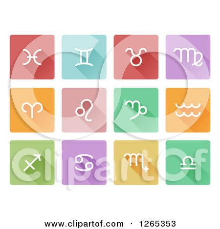 Clipart of White Astrology Horoscope Icons on Colorful Tiles - Royalty Free Vector Illustration by AtStockIllustration