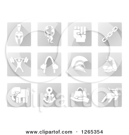 Clipart of White Strength Icons on Gray Tiles - Royalty Free Vector Illustration by AtStockIllustration