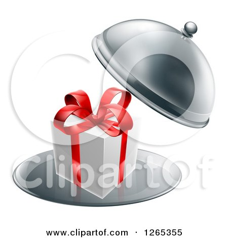 Clipart of a 3d Gift Box with a Red Bow in a Cloche Platter - Royalty Free Vector Illustration by AtStockIllustration