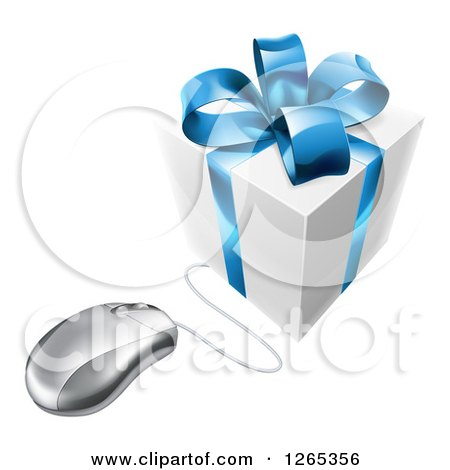 Clipart of a 3d Gift Box with a Blue Bow Wired to a Computer Mouse - Royalty Free Vector Illustration by AtStockIllustration
