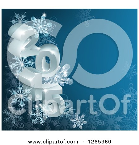Clipart of 3d Year 2015 with Snowflakes on Blue - Royalty Free Vector Illustration by AtStockIllustration