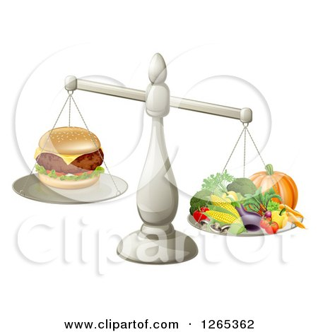 Clipart of a 3d Silver Scale Comparing a Cheeseburger As Better Than Produce - Royalty Free Vector Illustration by AtStockIllustration