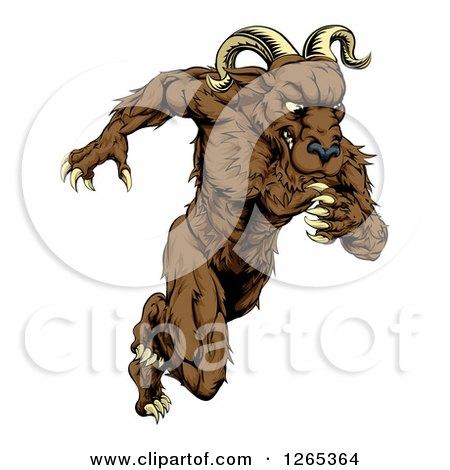 Clipart of a Muscular Ram Monster Man Running Upright - Royalty Free Vector Illustration by AtStockIllustration