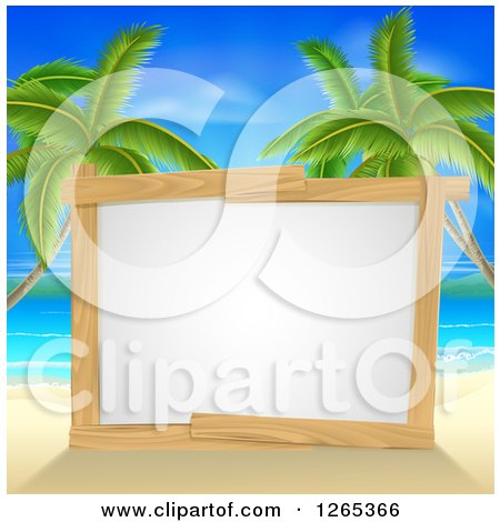 Clipart of a Blank Wood Framed Sign on a Tropical Beach with Palm Trees - Royalty Free Vector Illustration by AtStockIllustration
