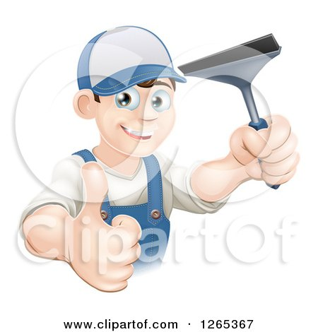 Clipart of a Happy Brunette Caucasian Window Cleaner Man Holding a Squeegee and Thumb up - Royalty Free Vector Illustration by AtStockIllustration