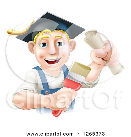 Clipart of a Happy Blond Male Graduate Painter Holding a Brush and Diploma - Royalty Free Vector Illustration by AtStockIllustration