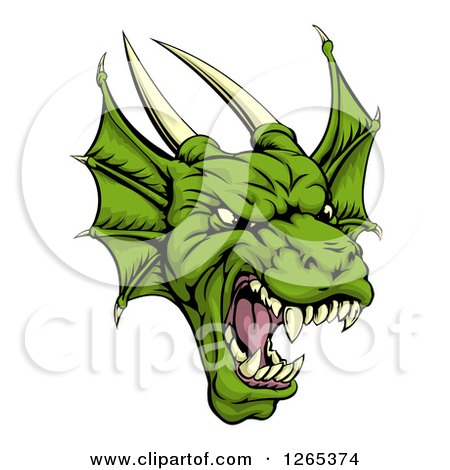 Clipart of a Roaring Green Horned Dragon Face - Royalty Free Vector Illustration by AtStockIllustration