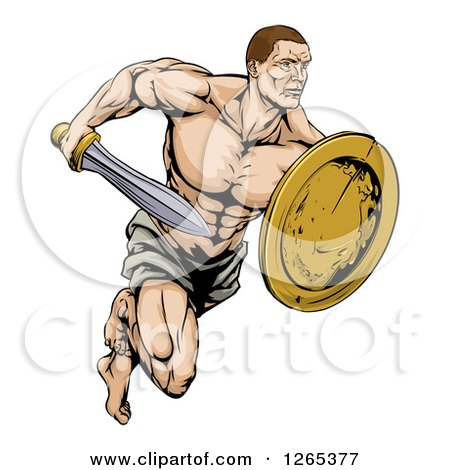 Clipart of a Muscular Gladiator Running with a Sword and Shield - Royalty Free Vector Illustration by AtStockIllustration