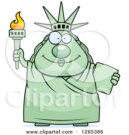 Clipart of a Chubby Happy Statue of Liberty - Royalty Free Vector Illustration by Cory Thoman
