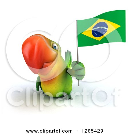 Clipart of a 3d Green Parrot Holding a Brazilian Flag - Royalty Free Illustration by Julos