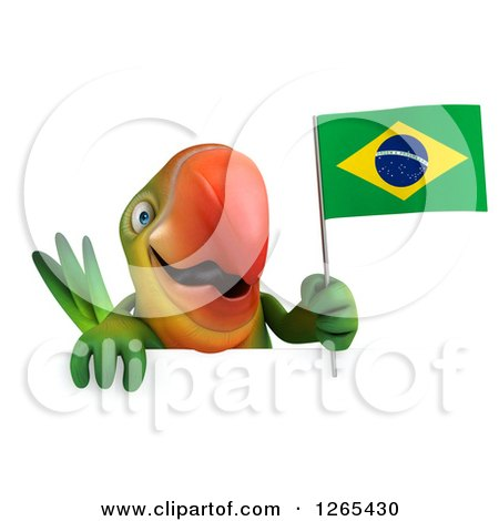 Clipart of a 3d Green Parrot Holding a Brazilian Flag over a Sign - Royalty Free Illustration by Julos