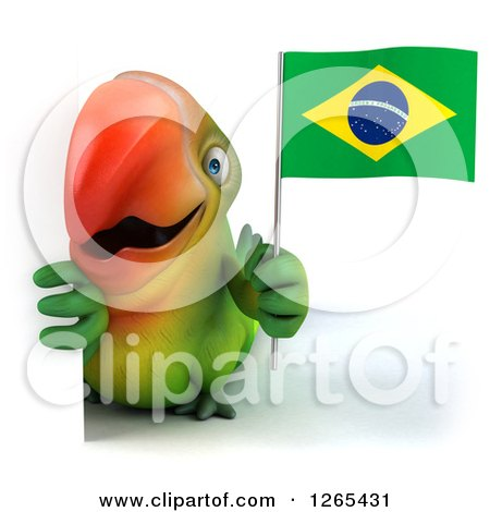 Clipart of a 3d Green Parrot Holding a Brazilian Flag Around a Sign - Royalty Free Illustration by Julos