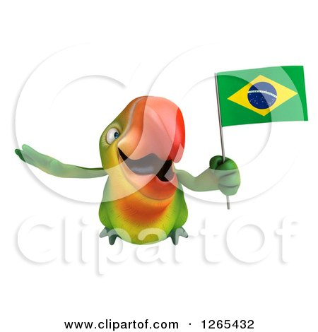 Clipart of a 3d Green Parrot Flying with a Brazilian Flag - Royalty Free Illustration by Julos