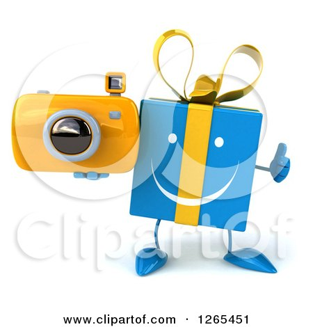 Clipart of a 3d Blue Gift Character Holding a Camera and Thumb up - Royalty Free Illustration by Julos