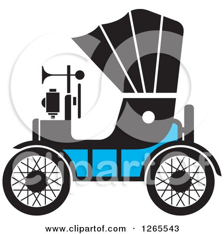 Clipart of a Vintage Antique Car with a Horn - Royalty Free Vector Illustration by Lal Perera