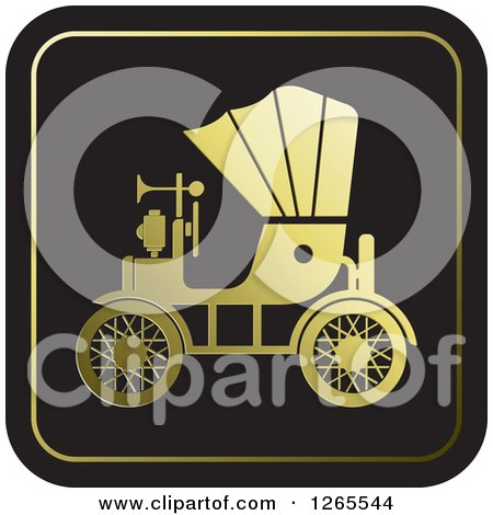 Clipart of a Gold and Black Vintage Antique Car with a Horn Icon - Royalty Free Vector Illustration by Lal Perera