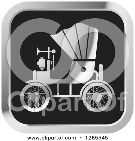 Clipart of a Silver and Black Vintage Antique Car with a Horn Icon - Royalty Free Vector Illustration by Lal Perera