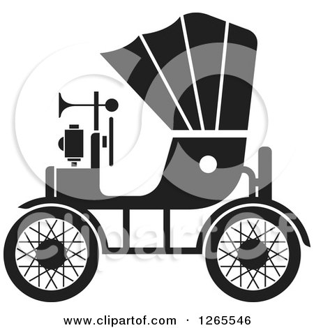 Clipart of a Black and White Vintage Antique Car with a Horn - Royalty Free Vector Illustration by Lal Perera
