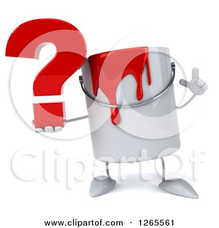 3d Can of Red Paint Character Holding up a Finger and a Question Mark Posters, Art Prints