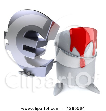 3d Can of Red Paint Character Holding up a Euro Symbol Posters, Art Prints