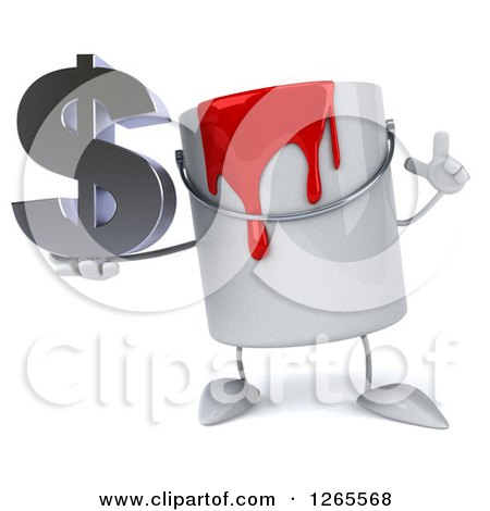 3d Can of Red Paint Character Holding a Dollar Symbol Posters, Art Prints