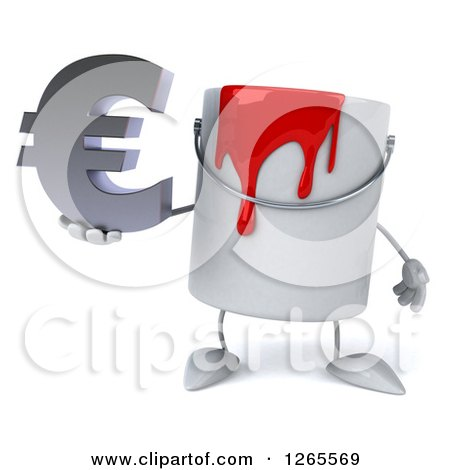 3d Can of Red Paint Character Holding a Euro Symbol Posters, Art Prints