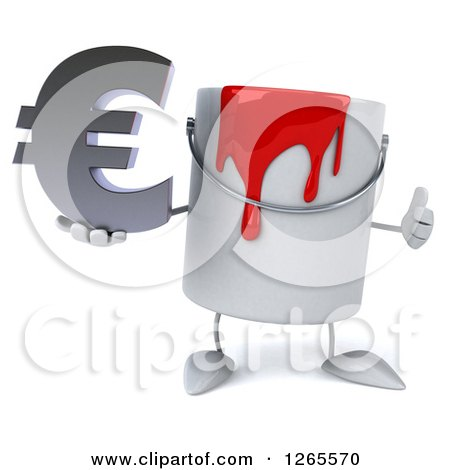 3d Can of Red Paint Character Holding a Euro Symbol and Thumb up Posters, Art Prints