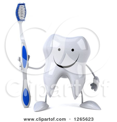 Clipart of a 3d Happy Tooth Character Holding a Brush - Royalty Free Illustration by Julos