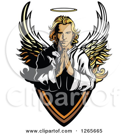 Clipart of a Blond Caucasian Male Angel Praying over a Shield - Royalty Free Vector Illustration by Chromaco