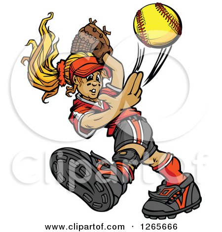 Clipart of a Blond Tomboy Caucasian Girl Pitching a Softball - Royalty Free Vector Illustration by Chromaco