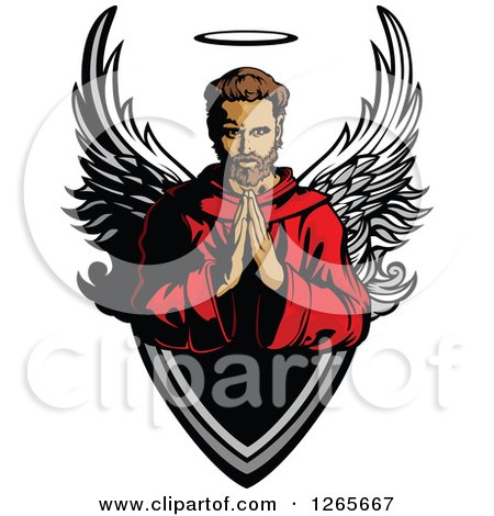 Clipart of a Brunette Caucasian Male Saint Praying over a Shield - Royalty Free Vector Illustration by Chromaco