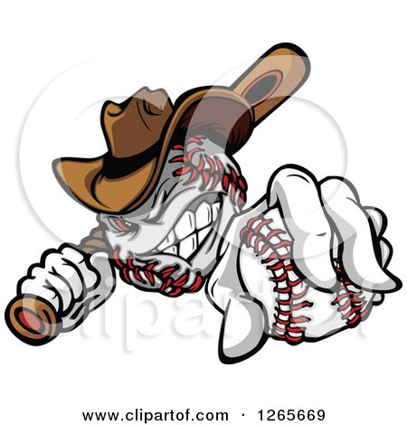 Clipart of a Tough Cowboy Baseball Mascot Holding a Bat and a Ball - Royalty Free Vector Illustration by Chromaco
