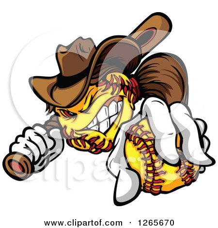Clipart of a Tough Cowgirl Softball Mascot Holding a Bat and a Ball - Royalty Free Vector Illustration by Chromaco