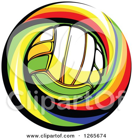 Clipart of a Volleyball and Colorful Swirl - Royalty Free Vector Illustration by Chromaco