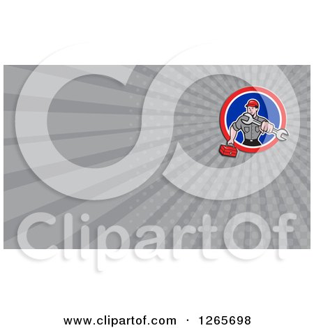 Clipart of a Male Mechanic with a Wrench and Tool Box Business Card Design - Royalty Free Illustration by patrimonio