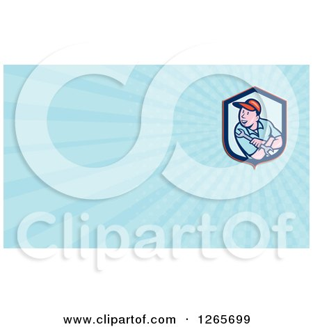 Clipart of a Male Mechanic with a Wrench Business Card Design - Royalty Free Illustration by patrimonio