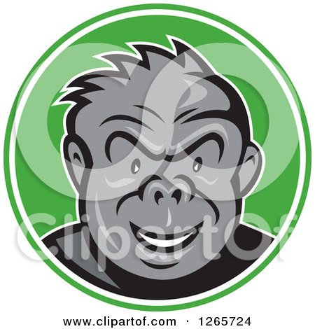 Clipart of a Cartoon Angry Gorilla in a Green and White Circle - Royalty Free Vector Illustration by patrimonio