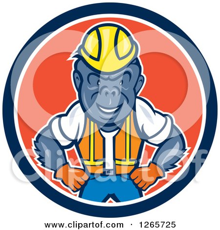 Clipart of a Cartoon Gorilla Construction Worker in a Blue White and Red Circle - Royalty Free Vector Illustration by patrimonio
