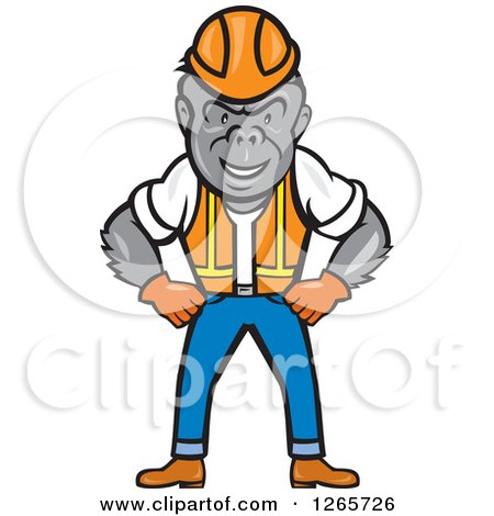 Cartoon Gorilla Construction Worker Standing with His Hands on His Hips Posters, Art Prints