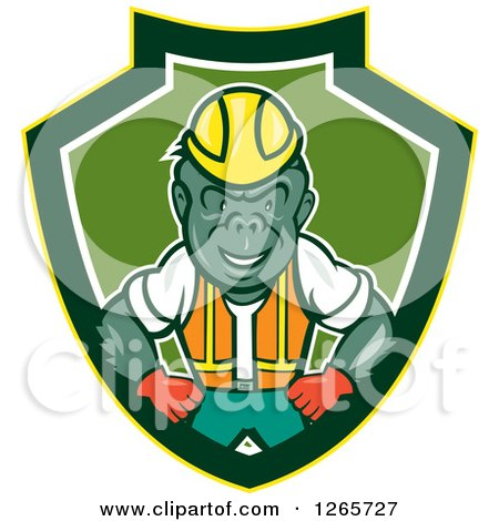 Clipart of a Cartoon Gorilla Construction Worker in a Yellow Green and White Shield - Royalty Free Vector Illustration by patrimonio
