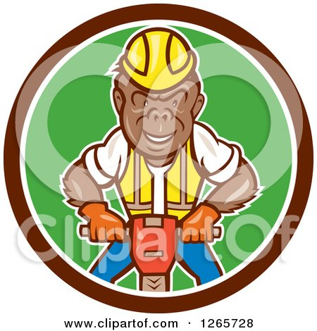 Cartoon Gorilla Construction Worker Operating a Jackhammer in a Brown White and Green Circle Posters, Art Prints