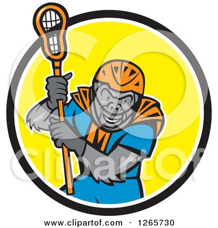 Clipart of a Cartoon Gorilla Lacrosse Player in a Black White and Yellow Circle - Royalty Free Vector Illustration by patrimonio