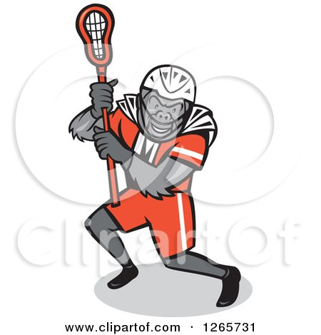 Clipart of a Cartoon Gorilla Lacrosse Player - Royalty Free Vector Illustration by patrimonio