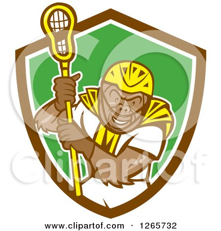Clipart of a Cartoon Gorilla Lacrosse Player in a Brown White and Green Shield - Royalty Free Vector Illustration by patrimonio
