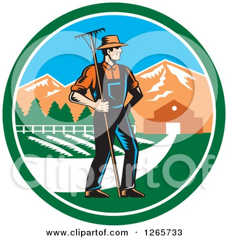 Clipart of a Retro Woodcut White Male Farmer with a Rake on a Farm Inside a Circle - Royalty Free Vector Illustration by patrimonio