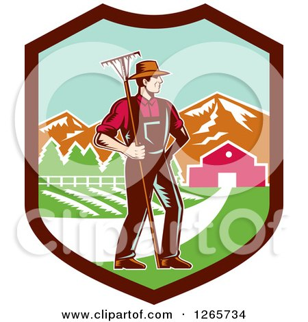 Clipart of a Retro Woodcut White Male Farmer with a Rake on a Farm Inside a Shield - Royalty Free Vector Illustration by patrimonio