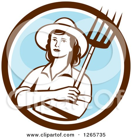 Clipart of a Retro Female Farmer Holding a Pitchfork in a Brown White and Blue Circle - Royalty Free Vector Illustration by patrimonio