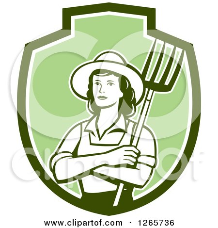 Clipart of a Retro Female Farmer Holding a Pitchfork in a Green and White Shield - Royalty Free Vector Illustration by patrimonio