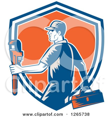 Clipart of a Retro Woodcut Male Plumber Carrying a Monkey Wrench and Tool Box in a Blue White and Orange Shield - Royalty Free Vector Illustration by patrimonio